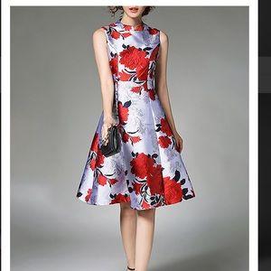 Floral sleeveless Jacquard Elegant A- Line dress.